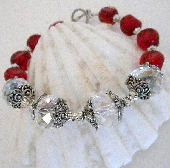 Valentines Day Ruby Red Crystal Bracelet By Justfabulousdarlin