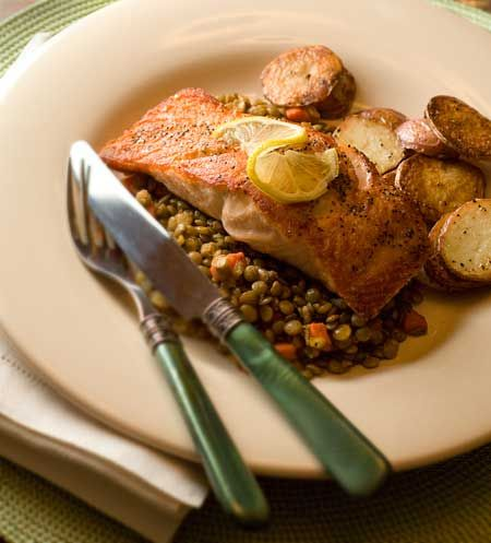 Gluten Free Salmon & Lentils Recipe- Roasted Cauliflower instead of Potatoes