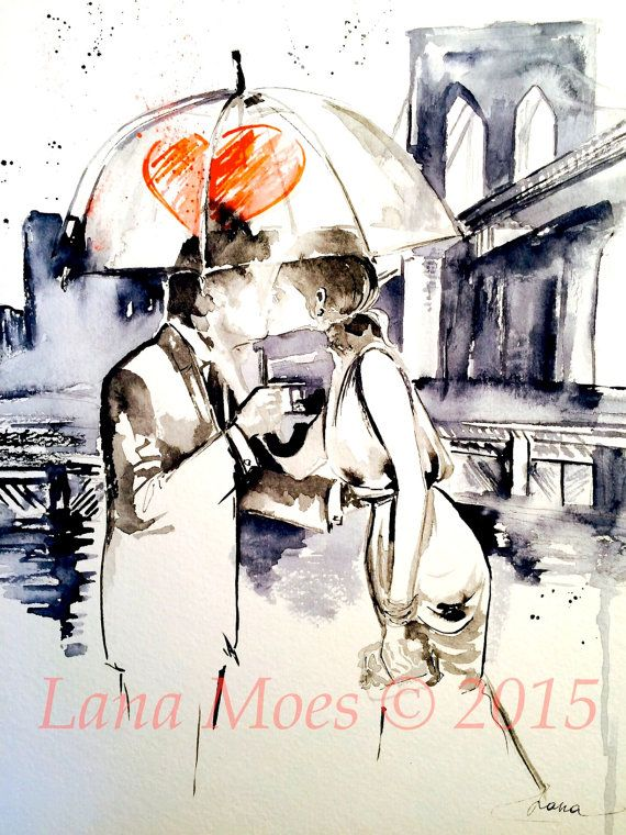 New York City, Love Romance Kiss Watercolor Painting, Wedding Illustration by Lana Moes, Invite, Anniversary, Stationary, Giclee Art Print – ETSY, EBAY, MERCARI, POSHMARK, RUBY LANE & SHOPIFY GALORE