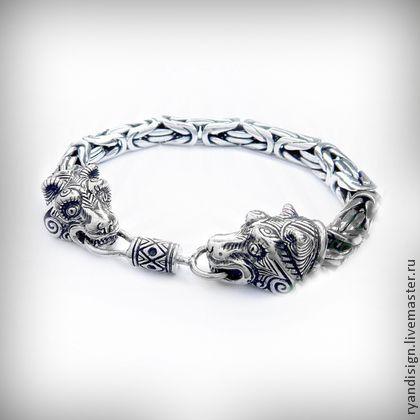 Браслет серебряный мужской, Медведи - браслет,мужские браслеты,браслет серебряный