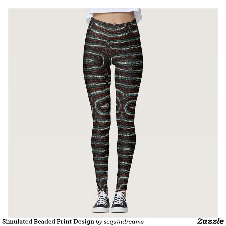 Simulated Beaded Print Design Leggings