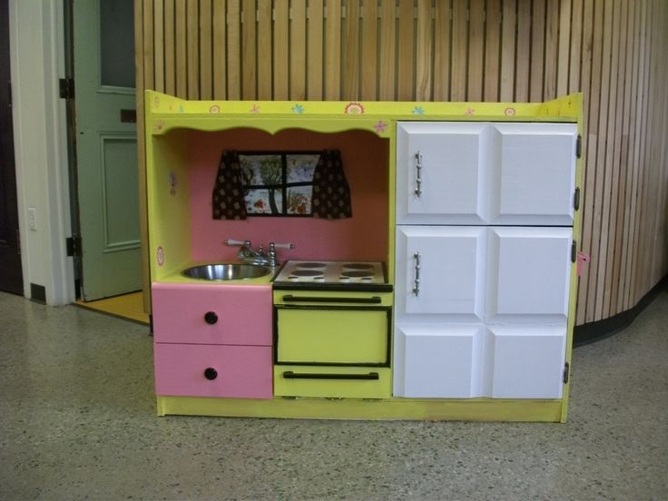 Child's kitchen made from entertainment centre purchased at our Reuse Centre. Entry submitted by Bonnie Clemens