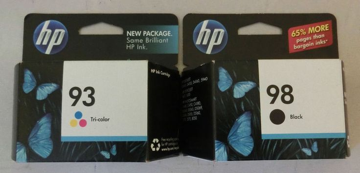 Lot of 2 HP Printer Ink Cartridges HP 93 Tricolor & HP 98 Black New Expired 2011 #HP