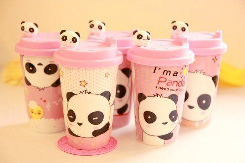 Amazon.com - Ceramic Coffee Mug with Silicone Lid - Cartton Panda - Travel Mugs