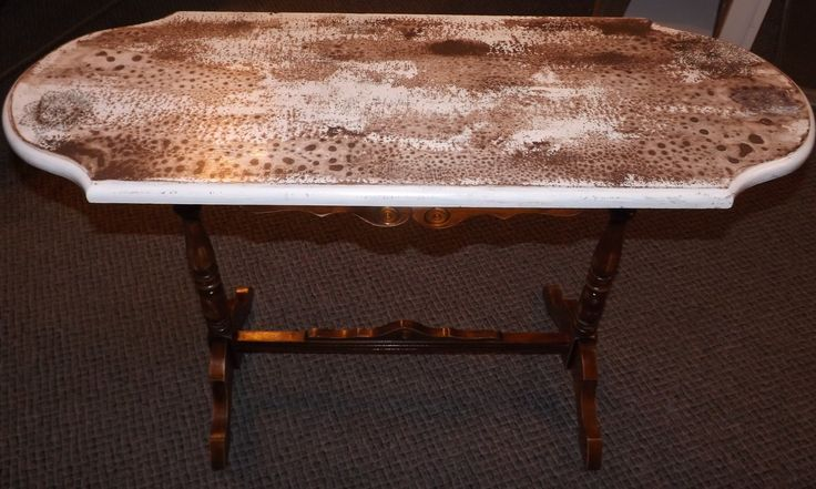 the top of this antique side table has been creatively painted by one of our Artisans ~ great entry way piece.  Available in the shoppe at 73 Foster Street, Perth, Ontario
