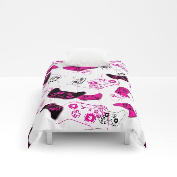 Pink Video Game Blanket, Video Game Comforter, Girl Gamer Room, Gaming Bedding, Gamer Girl, Video Ga – #bedding #blanket #comforter #gamer #gaming