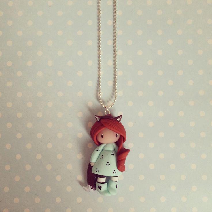 Collier Petite fille renard rousse en mint : Collier par madame-manon