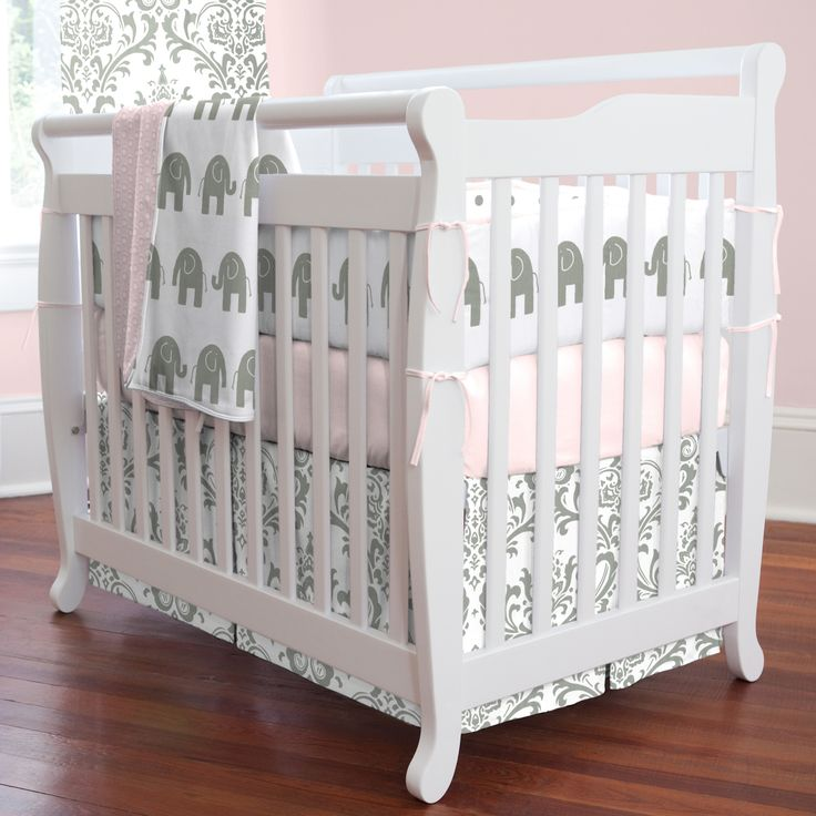 Gray Elephant Crib Bedding | Pink and Gray Elephants Mini Crib Bedding