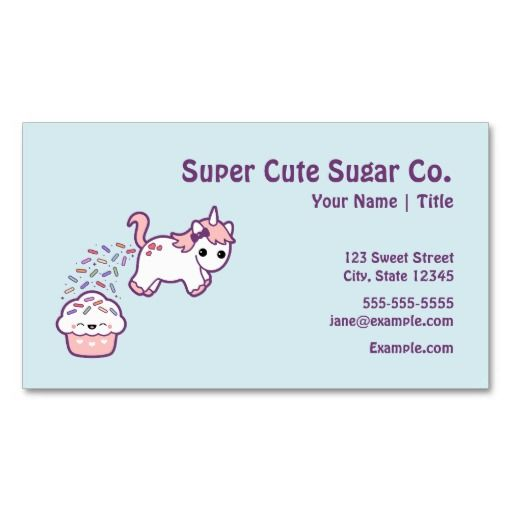 277 best cupcake business cards images on pinterest bakeries cute unicorn with cupcake double sided standard business cards pack of 100 cheaphphosting Images