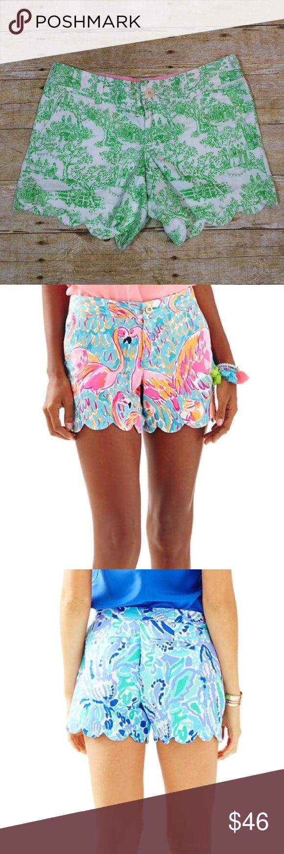 MUST GO❗️Lilly Pulitzer Buttercup Shorts Like new Lilly Pulitzer scallop buttercup shorts. Size 0. The print is called spring fever toile. These are so cute but too small for me now. The 2 stock photos are just to show how these fit. Waist laying flat is 16 in., inseam is 5 in. Open to offers and I have a 30% bundle discount! I LOVE OFFERS ❤️❤️ Lilly Pulitzer Shorts