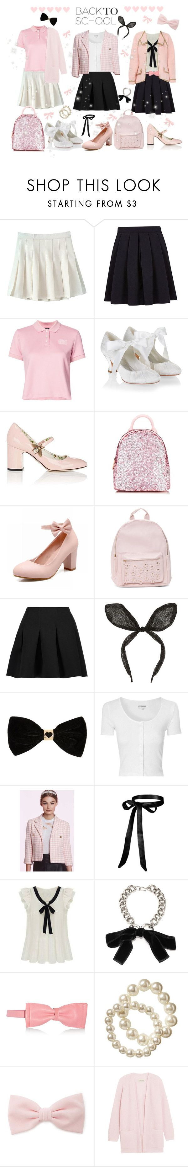 """""""♡ Back To School: Girly Uniform Dress Up Looks (Read Description) ♡"""" by kaylalovesowls ❤ liked on Polyvore featuring George, Puma, Monsoon, Gucci, Skinnydip, T By Alexander Wang, River Island, Glamorous, Chanel and Alexander McQueen"""