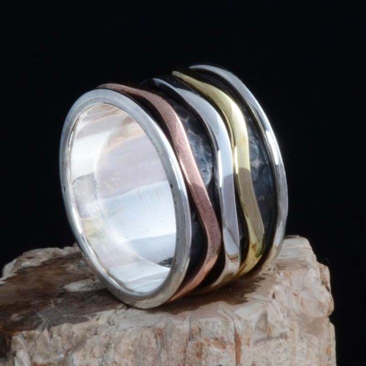 925 SOLID STERLING SILVER THREE TONE SPINNER RING 7.53g DJR10661 SZ-11 #Handmade #Ring