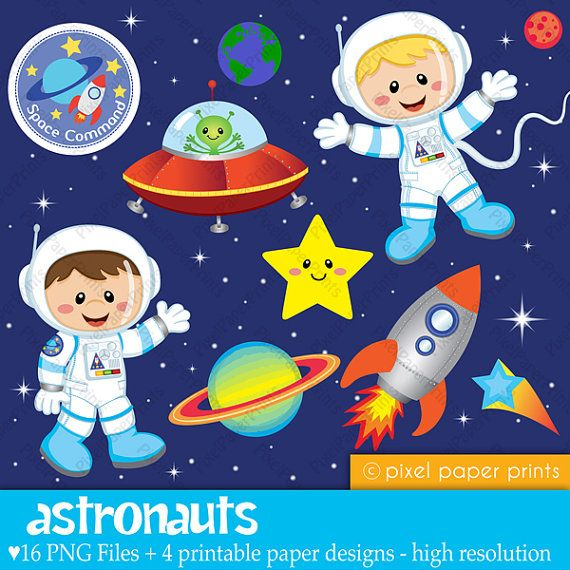 I love this for bradleys room!! I hope she can make them into wall decals for me Clip Art and Digital Paper Set ASTRONAUTS by pixelpaperprints, $6.00