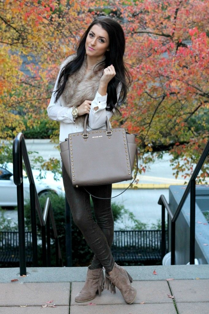 Fall Fashion Faux Fur Michael Kors Purse Clothes Pinterest Handbags And