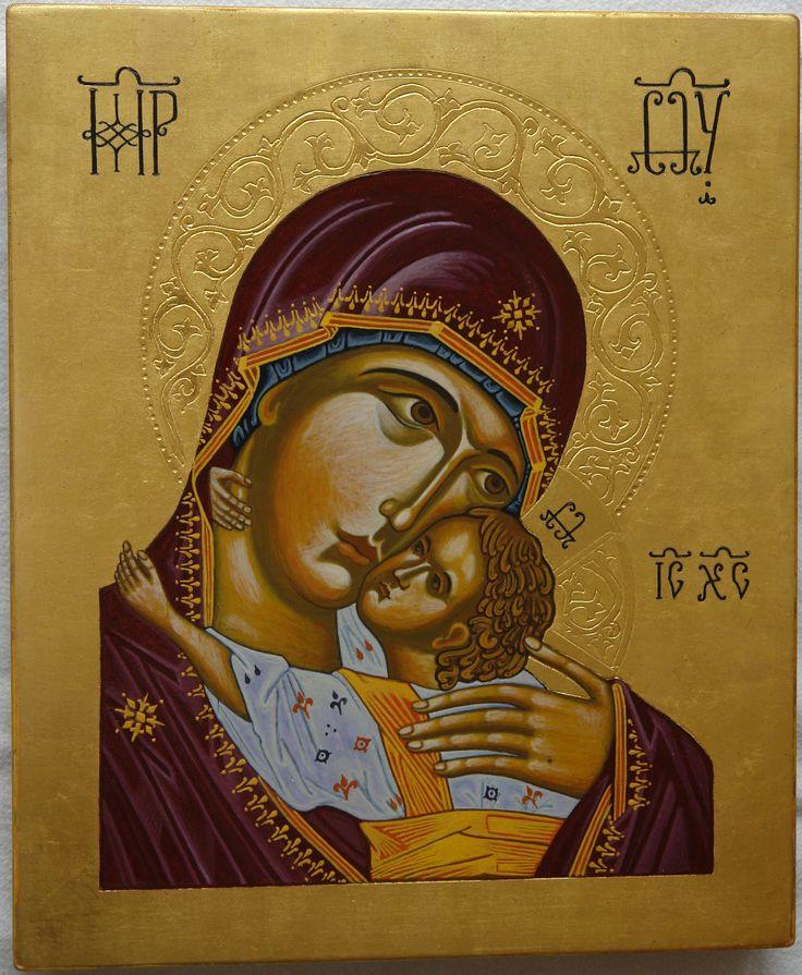 Matka Boska Eleusa, deska 20x35, złoto na pulment, tempera, Pracownia Ikon Serca Jezusowego w Tarnowie Podgórnym