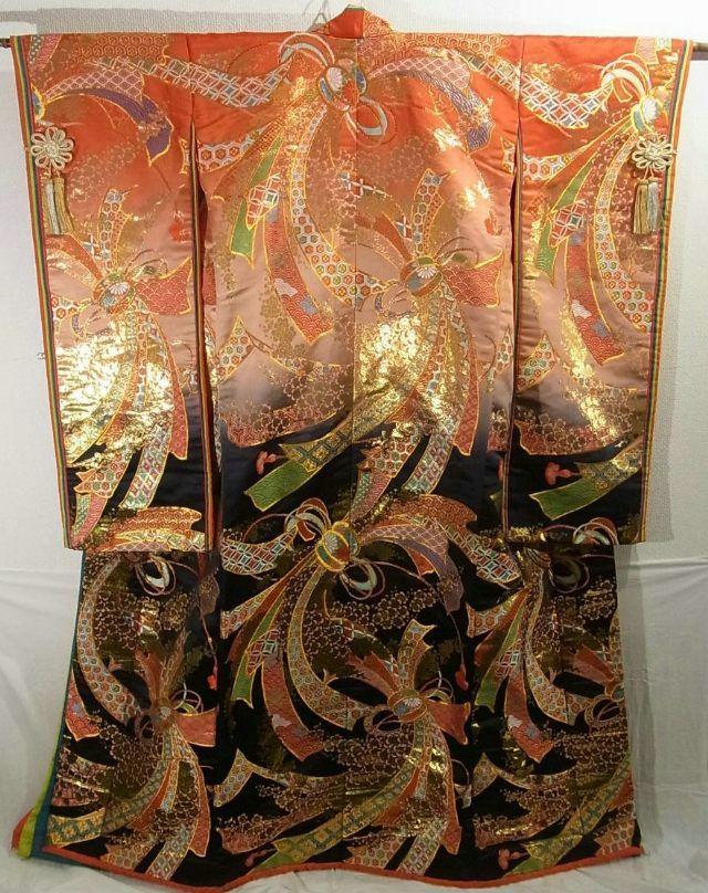 Uchikake; gold and peach colored design