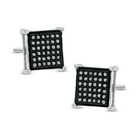 1/5 CT Enhanced Black Diamond Square Stud Earrings Sterling with Black Rhodium by JewelryHub on Opensky