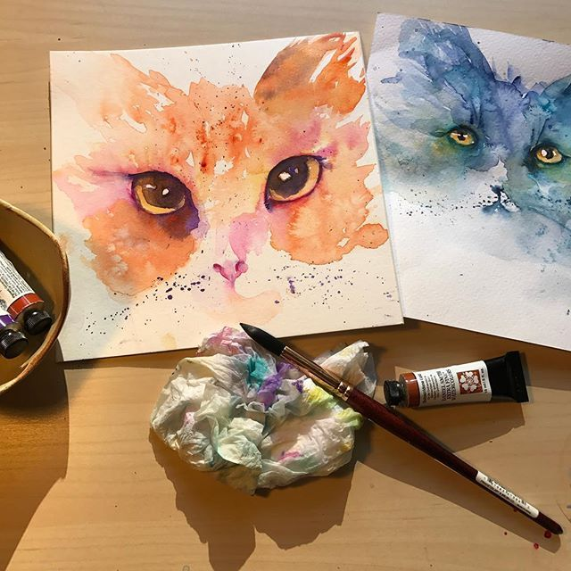 """Funky Friday Faces. More cat warm ups! It's ok, you can laugh! I painted the blue guy upside down (a la @wampoline :) to help get me into my right brain. Ms Orange was a """"mistake"""" but now she looks like my Maya Pearl at dinnertime with those enlarged pupils! I painted these before my blue guy from yesterday. While I have plenty of, let's say, not Insta worthy pieces, I thought I'd share some of my process...along with some afternoon light & shadows (sheesh! It's only 1:30pm!). I hope you are…"""