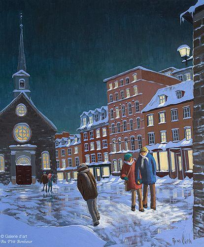 Rémi Clark, 'Par un rond-point d'hiver ', 30'' x 36'' | Galerie d'art - Au P'tit Bonheur - Art Gallery