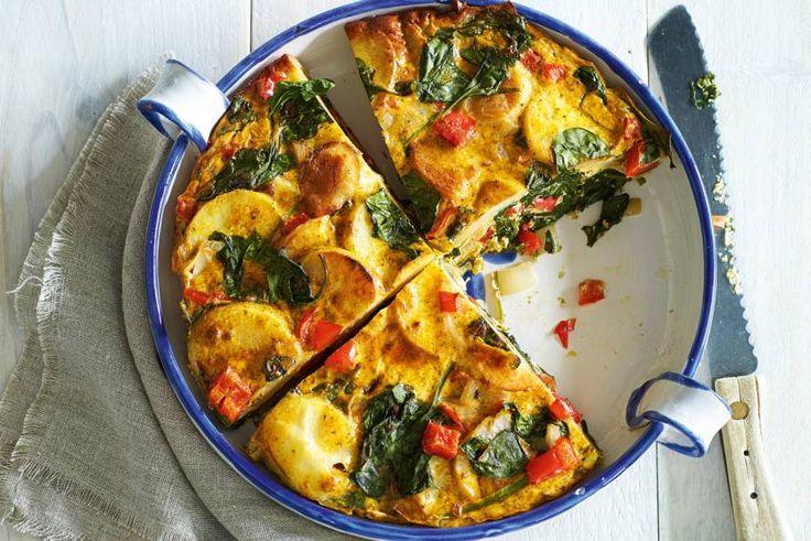 Tortilla is de nationale trots van Spanje. Deze variant met spinazie is goedgevuld - Recept - Allerhande