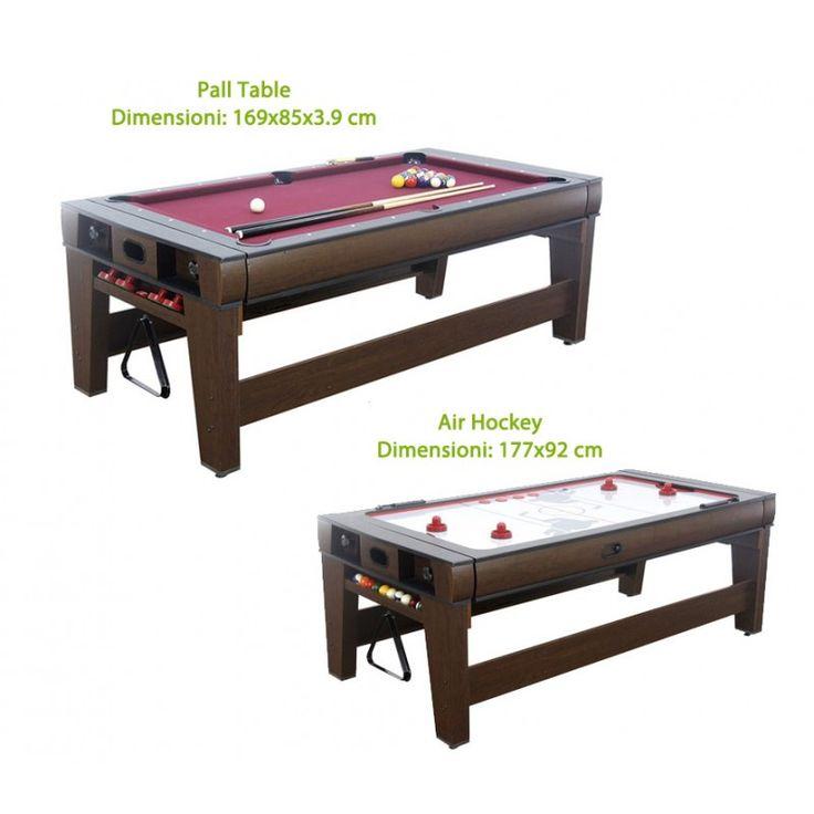 Raddoppiare il divertimento con un tavolo! È possibile modificare i giochi (biliardo e air hockey). Il tavolo dotato di stabile telaio inferiore effetto legno naturale.