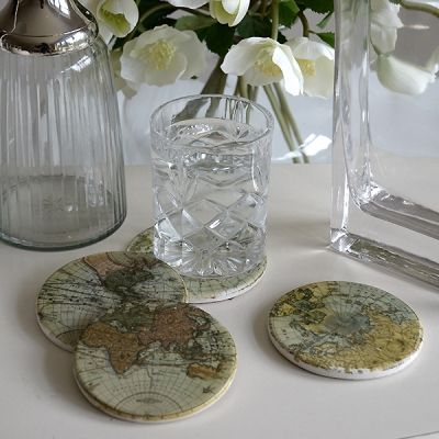 Set of four map coasters