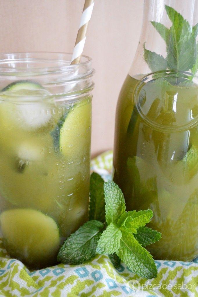 Té helado matcha con pepino, limón y yerbabuena | http://www.pizcadesabor.com