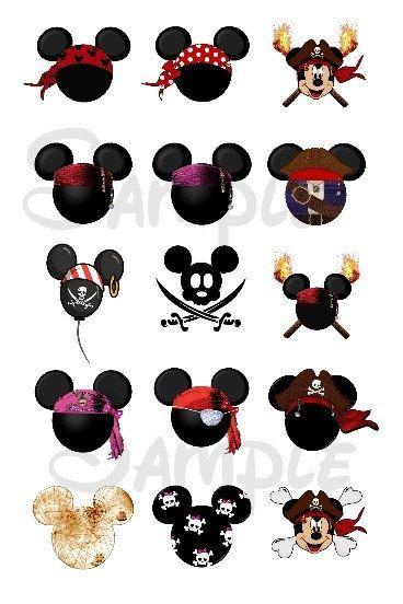 "Various Pirate Mickey DIGITAL Bottle Cap image sheet 4x6 1"" inch"