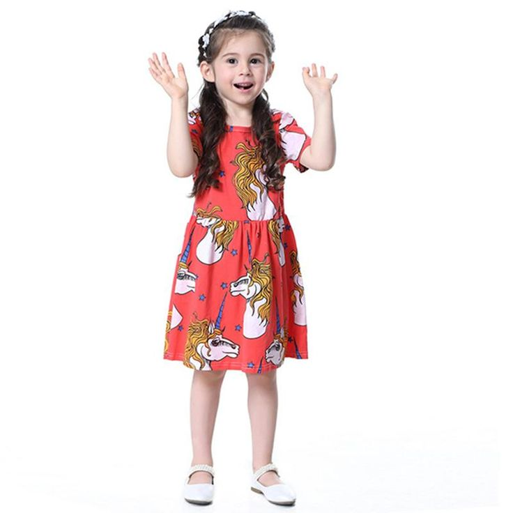 Cute Magic Unicorn Girl's Summer Dress
