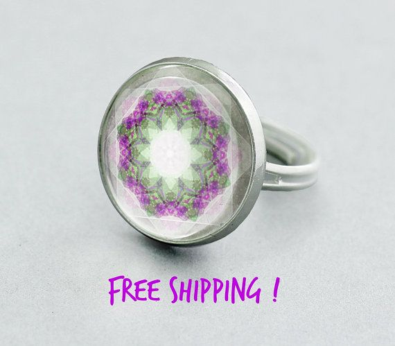 Violet Mandala Ring. Pastel Summer Ring. Adjustable Ring,Silver Plated Ring. Glass Dome Ring.Statement Ring.