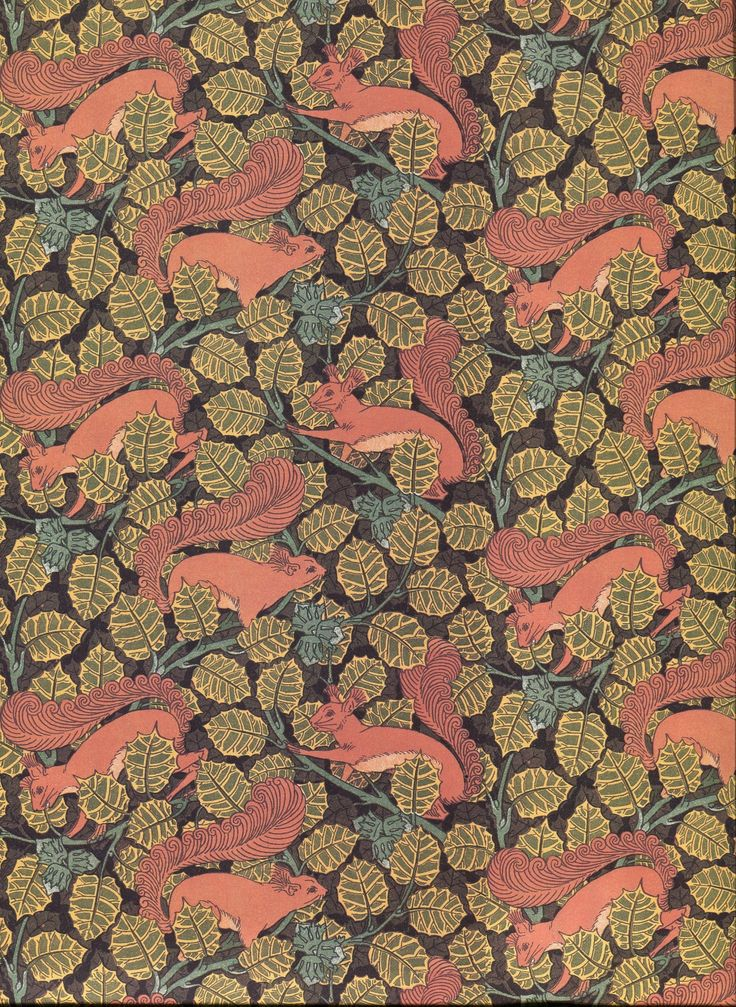 This month's Art Nouveau design, a wallpaper by M.P. Verneuil from L'Animal dans la Décoration (1897). Here is an unconventional source of inspiration for ornamentation: squirrels in a hazel tree.