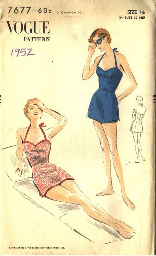 One-piece princess bathing suit, halter-top, straight skirt ad under shorts by Vogue 7677, 1952. (via the Commercial Pattern Archive)