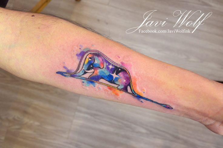Watercolor The Little Prince, Boa Constrictor tattoo by Javi Wolf. Via javiwolfink.tumblr.com