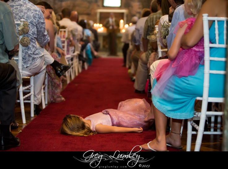 Bored child makes herself at home during a Nooitgedacht wedding ceremony