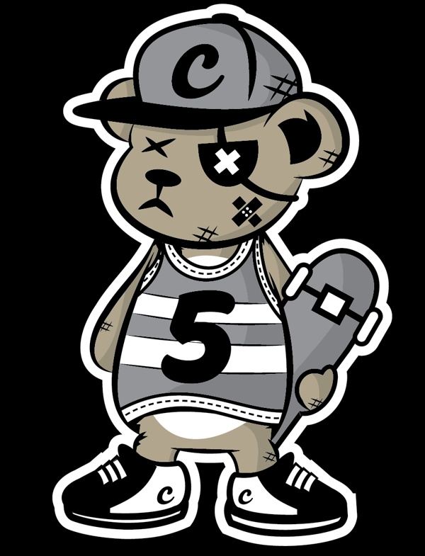 Crew Five Skater Bear by Jason Arroyo , via Behance