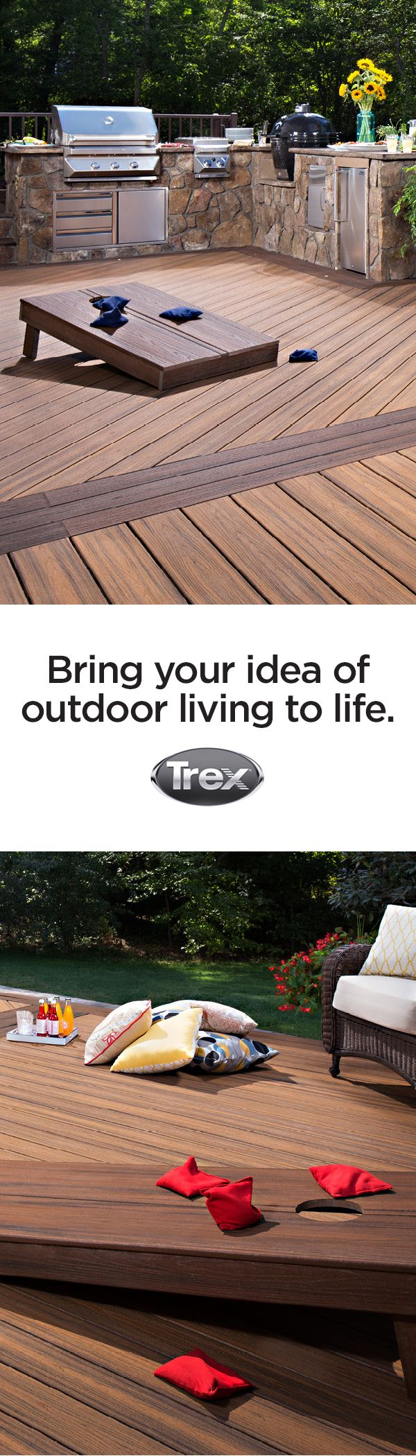 Decks are a perfect place to play outdoor games with the family. Bring your ideas of outdoor living to life with Trex decking and railing. These beanbag toss boards are made out of Trex composite boards as well.