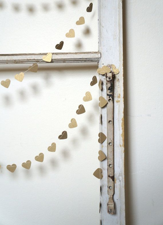 Heart of Gold Paper Garland - 3 metre (9.8 ft) Wedding, Engagement, housewarming, party home decor, photo prop on Etsy, $15.00