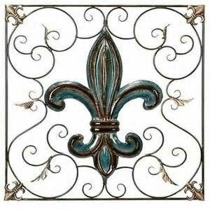 Wrought iron turquoise/brown fleur de lis wall accent #fleurs