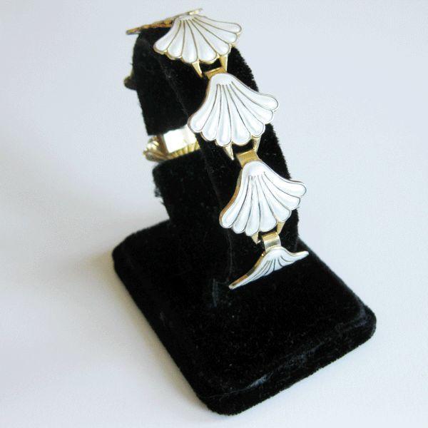 Vintage Sterling Enamel Norway Andresen Scheinpflug Bracelet Modernist Fans