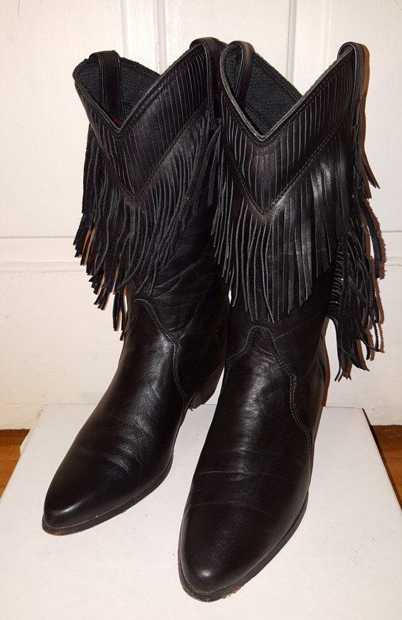 BOTAS de FLECOS LAREDO / / tamaño de Vintage negro cuero mujer 7 puntiagudos vaquero vaquera Western mediados ternero otoño invierno