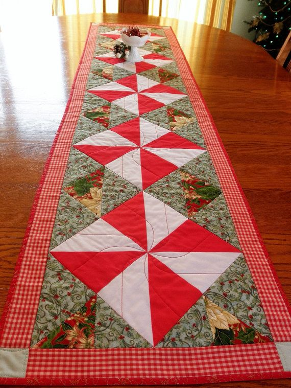 Extra Long Quilted Christmas Holiday Table Runner by MyDomesticity