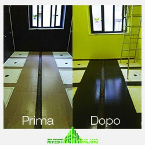 Verniciatura in resina pareti e pavimentazione docce. Procedura di qualche giorno ma l'effetto è spettacolare!