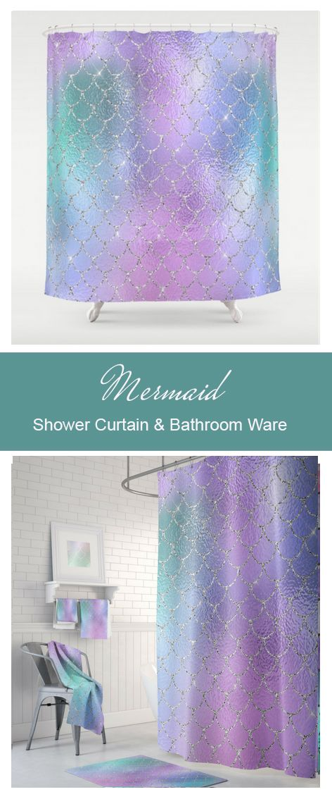 Mermaid Shower Curtain Pretty Pastel Teal And Purple Matching Towels Bath