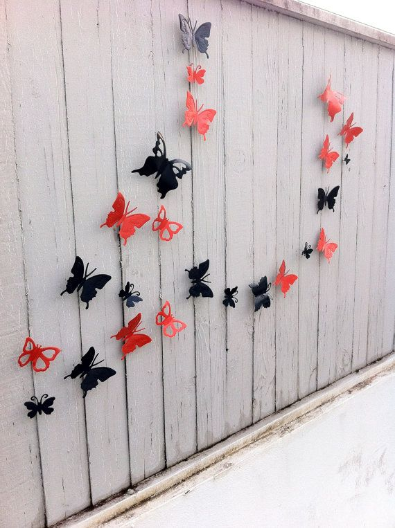 Decorative Metal Butterflies Indoor - Outdoor Art 3D / Garden Decor / Garden Art / Rustic Decor / Yard Art / Wall Art / 2 Dozen