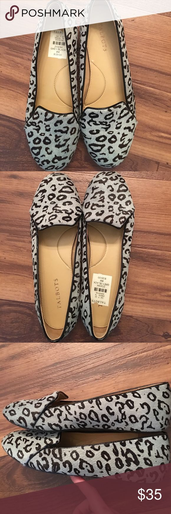 Talbots leather leopard print loafers These cute loafers are perfect with jeans or dress pants! Leather and calf hair upper. Grey and black. Talbots Shoes