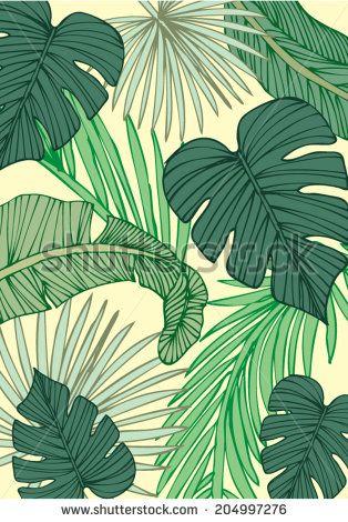 tropical leaf background vector/illustration - stock vector