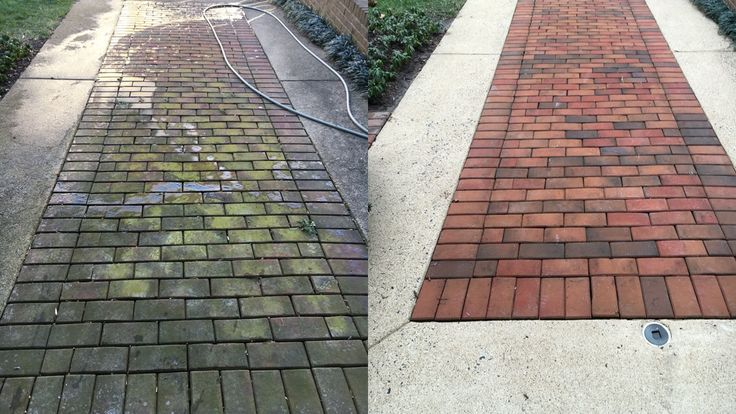 Before and after brick and concrete driveway walkway for Best solution to clean concrete driveway