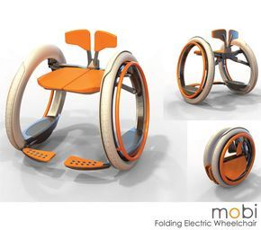 cool electric wheelchair!  ..controlled similarly to a traditional manual wheelchair; the user pushes on the hand rims. However, force sensors in the hand rims detect the user's physical exertion and add additional power to the wheels. This means Mobi makes physical movement easier in a similar fashion to power steering in a car.