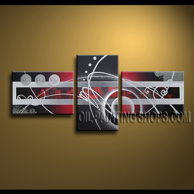 Huge Modern Abstract Painting Oil Painting On Canvas Panels Gallery Stretched Abstract. This 3 panels canvas wall art is hand painted by A.Qiang, instock - $148. To see more, visit OilPaintingShops.com