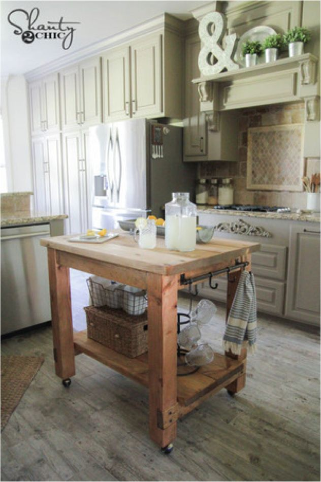 DIY Kitchen island project by Shanty 2 Chic! Add some storage and style to your kitchen space with this beautiful rolling island tutorial. RYOBI Nation has the full free instructions.